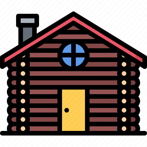 architecture, building, estate, house, log, real icon