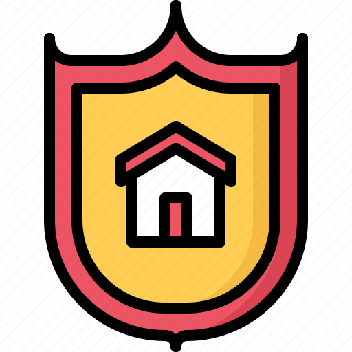 architecture, building, estate, house, real, shield icon