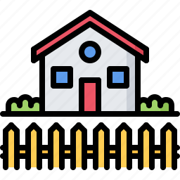 architecture, estate, fence, home, house, real icon
