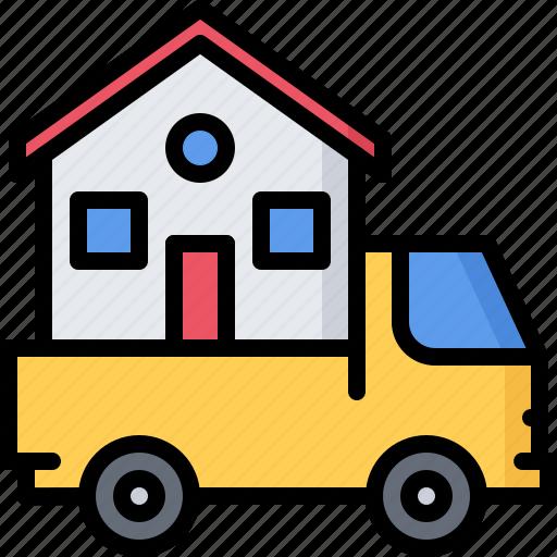 architecture, building, estate, house, logistics, real, truck icon