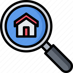 architecture, building, estate, house, magnifier, real, search icon