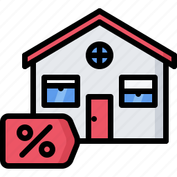 architecture, building, discount, estate, house, mortgage, real icon