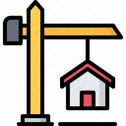 architecture, building, crane, estate, house, real icon