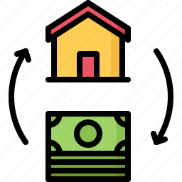 architecture, buying, estate, exchange, house, money, real icon