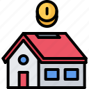 architecture, box, coin, estate, house, money, real icon
