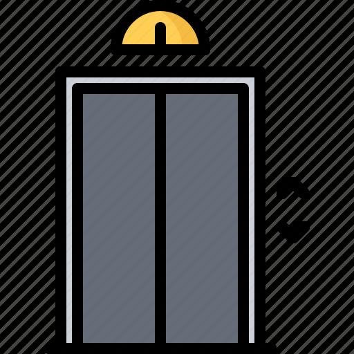 apartment, architecture, elevator, estate, house, key, real icon