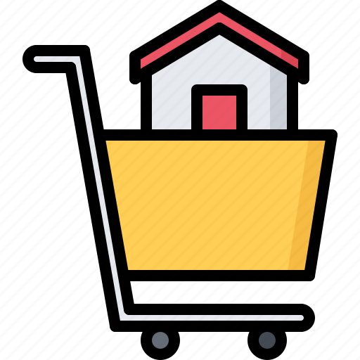 architecture, cart, estate, house, purchase, real, shopping icon