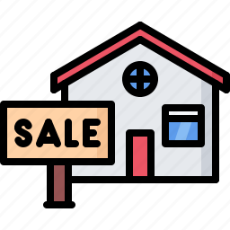 architecture, building, estate, house, nameplate, real, sale icon