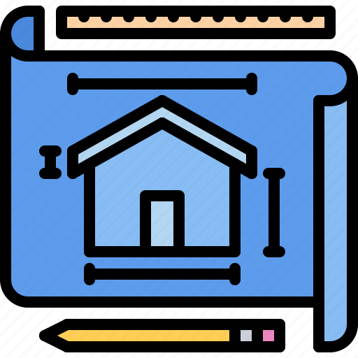 architecture, building, estate, house, layout, plan, real icon