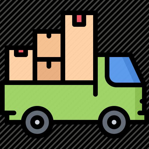 architecture, box, estate, house, logistics, real, truck icon