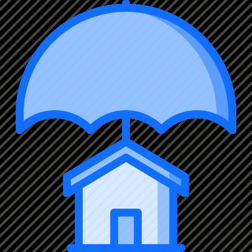 architecture, building, estate, house, insurance, real, umbrella icon