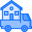 architecture, building, estate, house, logistics, real, truck icon