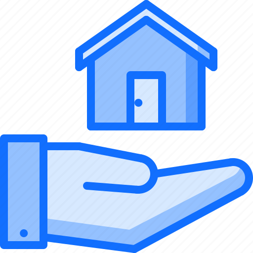architecture, building, estate, hand, house, real icon