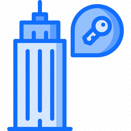 apartment, architecture, estate, house, key, real, skyscraper icon