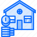 architecture, building, coin, estate, house, money, real icon