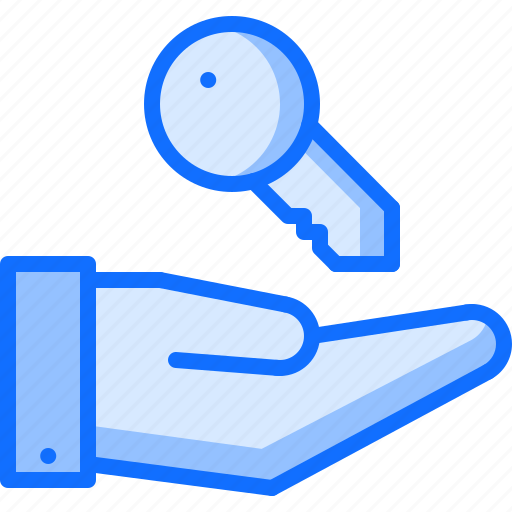 architecture, building, estate, hand, house, key, real icon