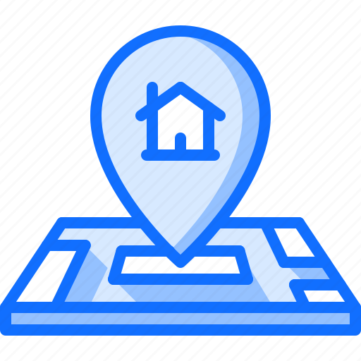 architecture, estate, house, location, map, pin, real icon