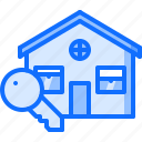 architecture, building, estate, house, key, real icon