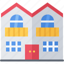 architecture, building, duplex, estate, house, real icon