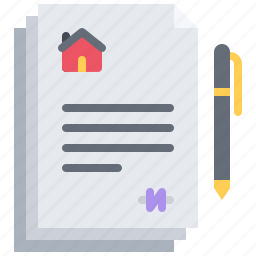 architecture, building, contract, estate, house, pen, real icon