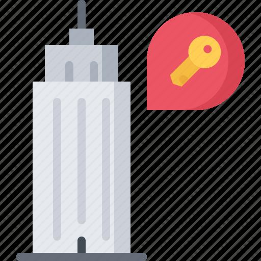 apartment, architecture, estate, house, key, real, skyscraper icon