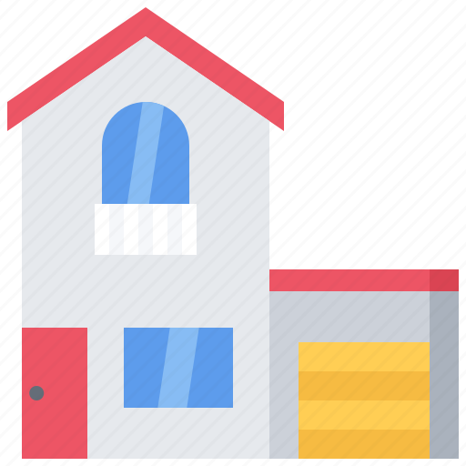 architecture, building, estate, garage, house, real icon