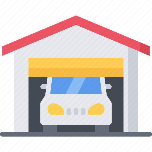 architecture, building, car, estate, garage, house, real icon