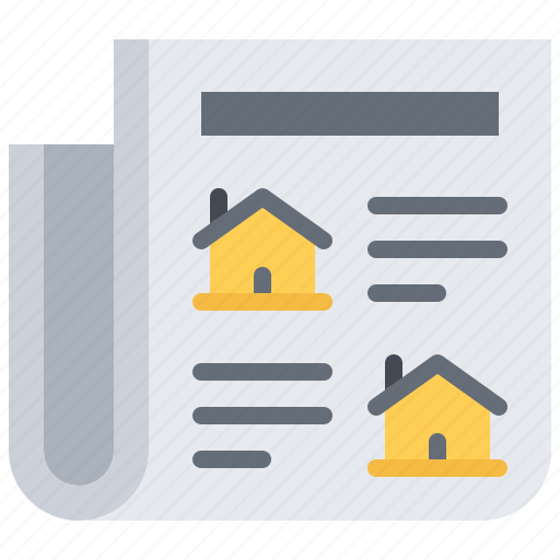architecture, building, estate, house, news, newspaper, real icon