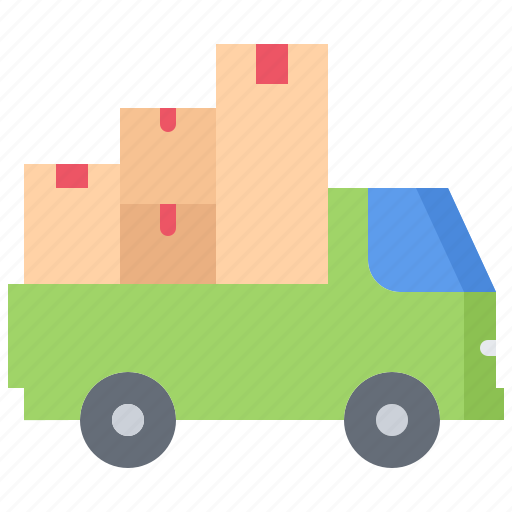 architecture, box, estate, house, logistics, real, truck icon