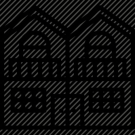 architecture, building, duplex, estate, house, real icon