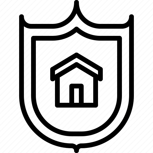 architecture, building, estate, house, real, shield icon