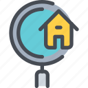 building, estate, home, house, property, search icon