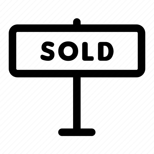 estate, sign, sold icon