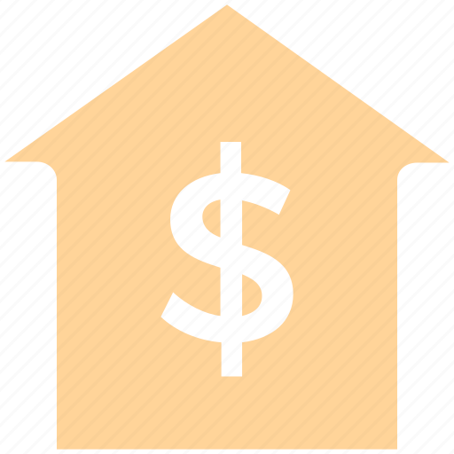 dollar, home, house, money, online, sign, think icon
