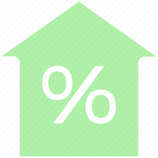 home, house, mortgage percentage, percent, percentage, property discount, property tax icon