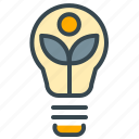eco, ecology, environment, estate, leaf, lightbulb, real icon