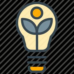 eco, ecology, environment, estate, leaf, lightbulb, real icon