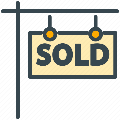 estate, house, property, real, sign, sold icon