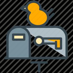 bird, estate, inbow, mail, mailbox, real icon