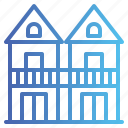 building, duplex, house, town icon