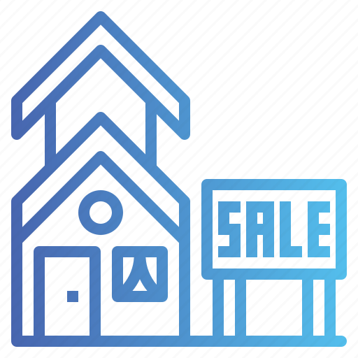 house, sale, sign, signaling icon