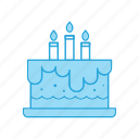 anniversary, birthday, cake, candle, celebration icon