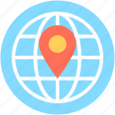 global location, globe, map pin, world location, worldwide icon