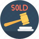 auction, auction bidding, auction hammer, gavel, mallet icon