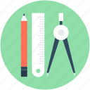 compass, draft tools, pencil, ruler, scale icon