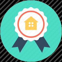 achievement, award badge, house sign, property, ribbon badge icon