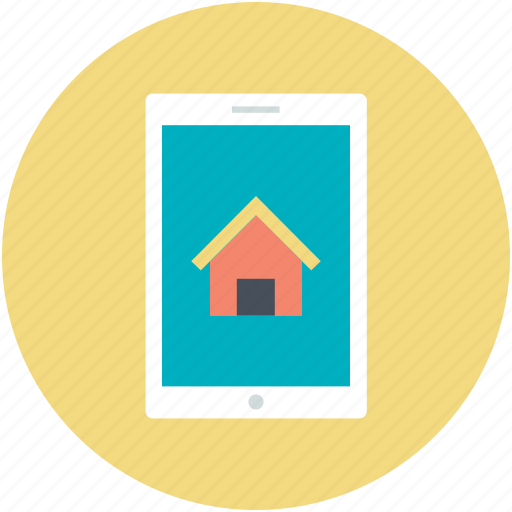 home, mobile screen, online mortgage, online navigation, online real estate icon