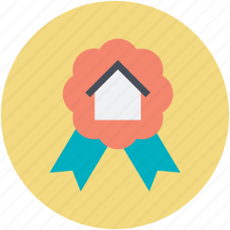 achievement, award badge, house sign, property achievement, ribbon badge icon