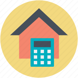 calculator, house, mortgage, property analyzing, property marketing icon