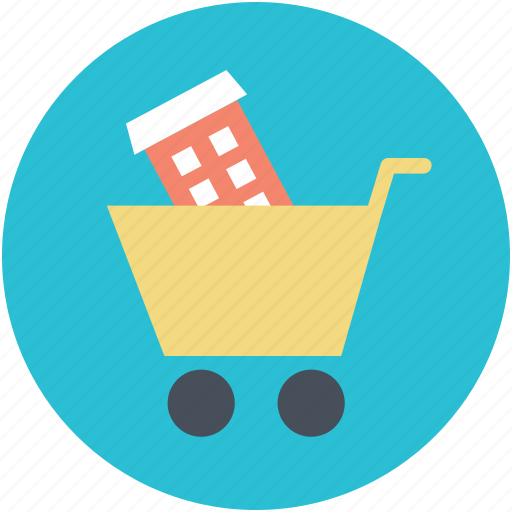 add to cart, house in cart, online navigations, online real estate, online sale icon